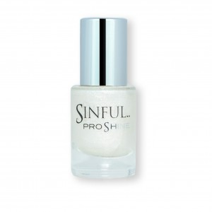 Sinful PROshine is a revolution into top spec imitation gel-like formula, easy application, full coverage and a sleek finish. Spoil yourself with the choice of 42 shades, expertly formulated with the finest grade of pigments. Glitz: Fine white crystals blended to create a dazzling finish