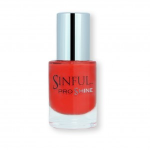 Sinful PROshine is a revolution into top spec imitation gel-like formula, easy application, full coverage and a sleek finish. Spoil yourself with the choice of 42 shades, expertly formulated with the finest grade of pigments. Pout: The perfect red carpet hue with a creme finish