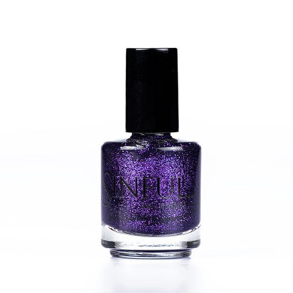 Vibrant purple glitter. Sinful polishes are long lasting and chip resistant, however we do recommend using a Top Coat to finish every polish. This adds a high shine finish and extends the polish wear-time. 15ml