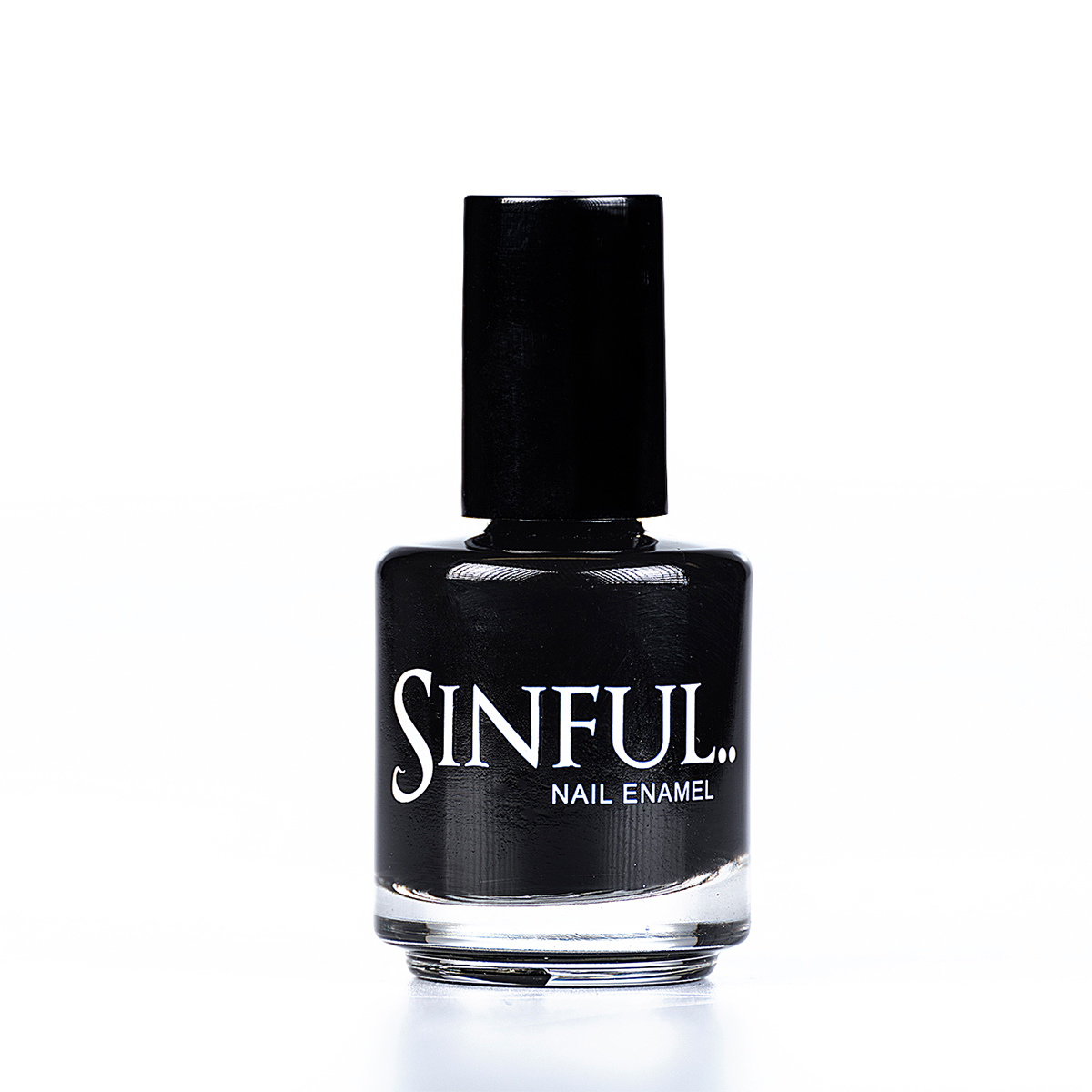 The darkest of the dark, a solid high gloss black. Sinful always recommends applying two coats of polish to give a solid colour, then applying top coat to extend the wear-time of the polish.